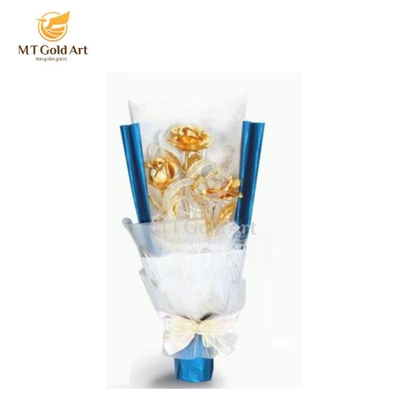 bó hoa hồng dát vàng